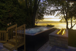 HydroPool Swim Spa on an Autumn Evening in Maine