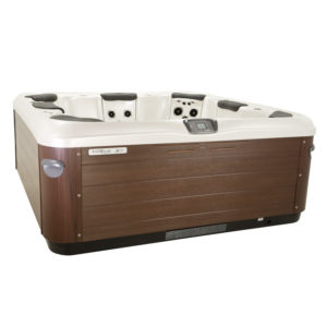 Bullfrog Spas A-series A8 available at Skillful Home Recreation Portland, ME. Shown from the corner.