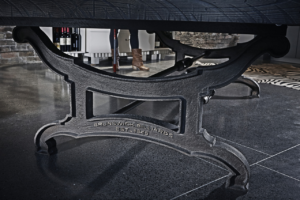 Brunswick Billiards Birmingham Pool Table in Charcoal in Room - Leg Detail