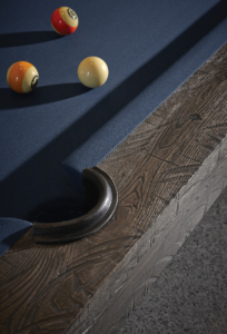 Brunswick Billiards Birmingham Pool Table in Charcoal Pocket and Rail Close-up