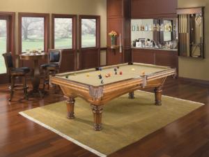 Brunswick Billiards Glenwood Pool Table - Chestnut Round Leg in Room