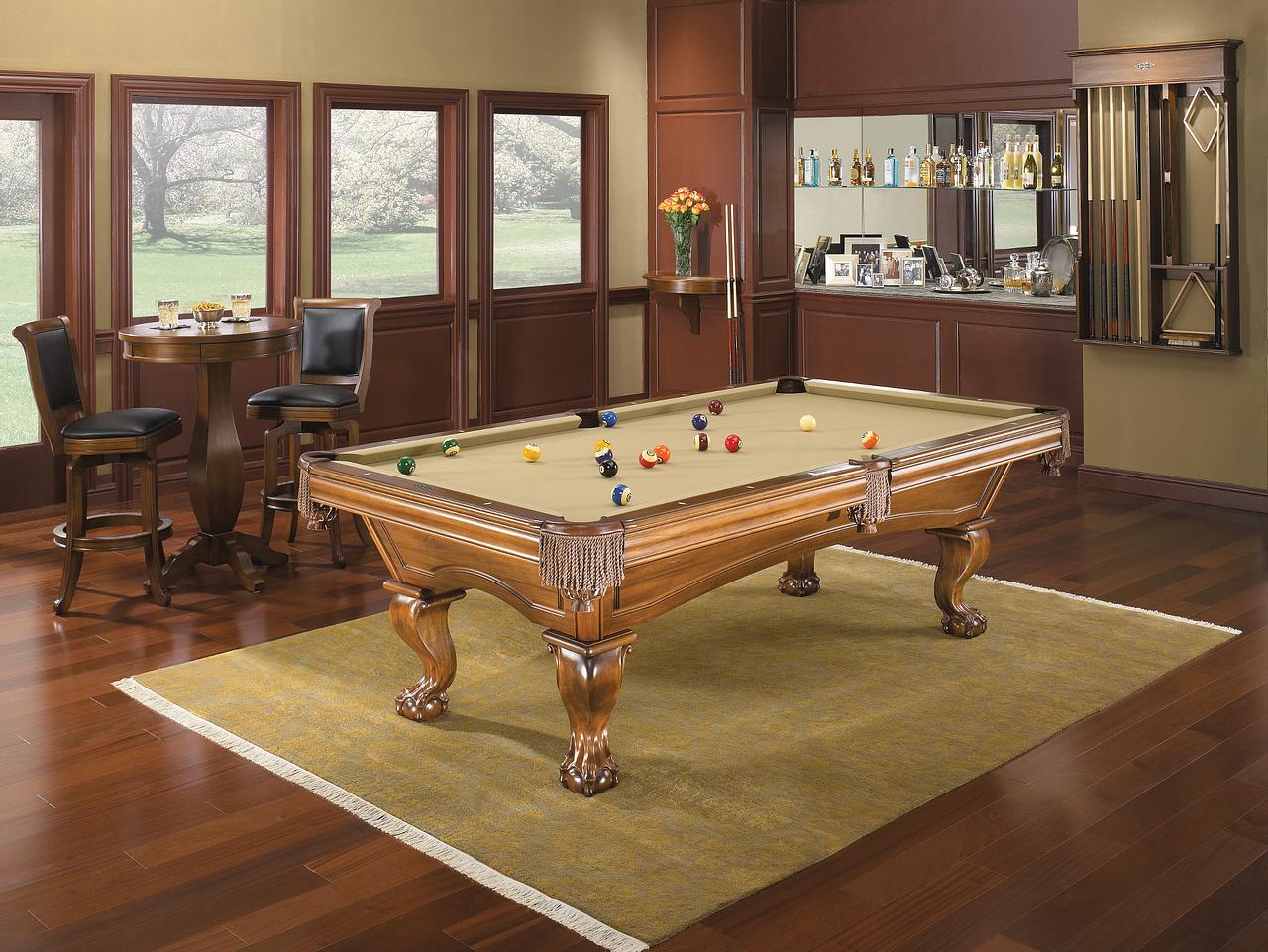 Brunswick Billiards Glenwood Pool Table - Chestnut Talon Leg in Room