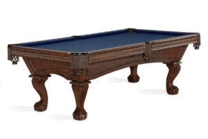 Brunswick Billiards Glenwood Pool Table Tuscana Ball and Claw Fringe Blue Cloth