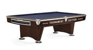 Brunswick Billiards Gold Crown II Tournament Pool Table in Walnut Blue Cloth