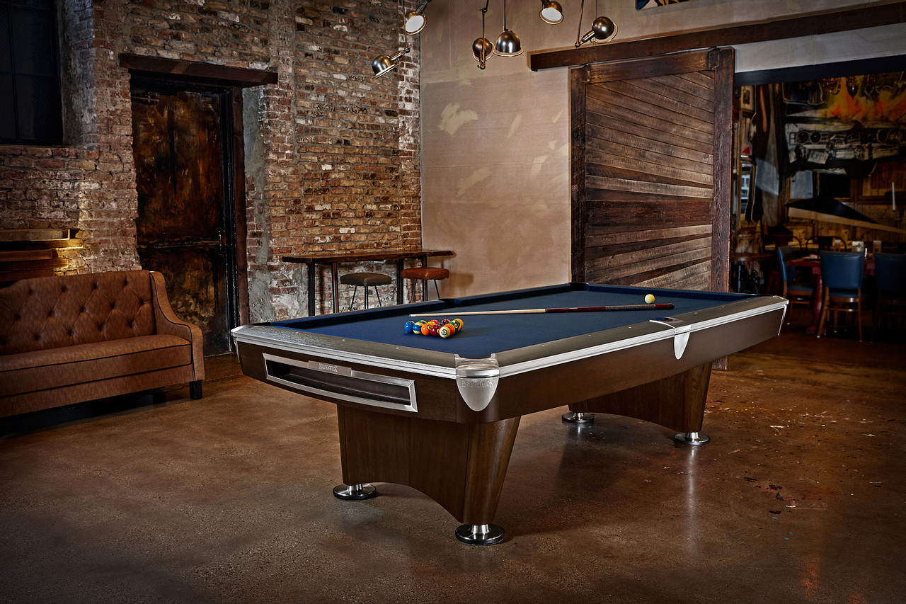 Brunswick Billiards Gold Crown II Pool Table in Walnut in room