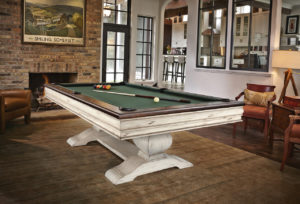 Brunswick Billiards Mackenzie Pool Table - Linen and Olive in Room