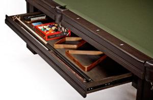 Brunswick Billiards Oakland II Pool Table in Espresso Drawer Open