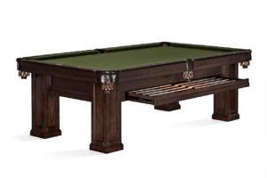 Brunswick Billiards Oakland II Pool Table in Espresso Drawer Open 3/4 View