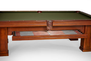 Brunswick Billiards Oakland II Pool Table with Drawer in Chestnut - side view