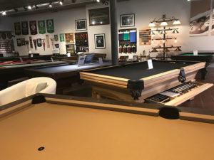 pool tables on showroom floor