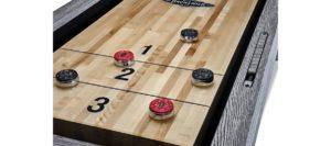 Brunswick Billiards Shuffleboard in Rustic Gray Detail2