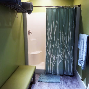 Shower Room adjacent to Test Soak Hot Tub Room at Skillful Home Recreation